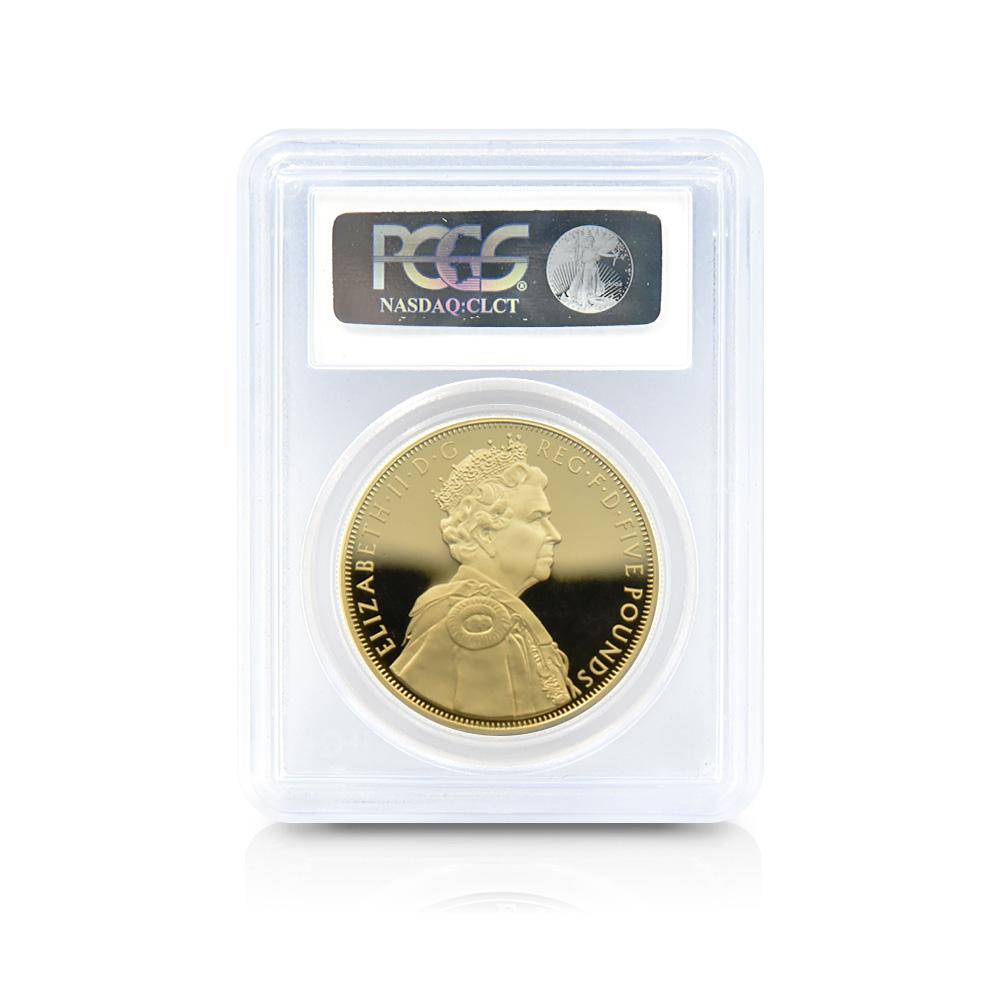 2012 エリザベス2世 ダイヤモンドジュビリー 5ポンド金メッキ PCGS PR70DC