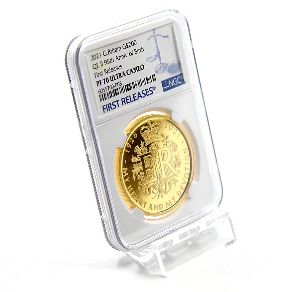 2021 エリザベス女王 生誕95周年記念 200ポンド2オンス金貨 ファーストリリース NGC PF70UC 箱付き