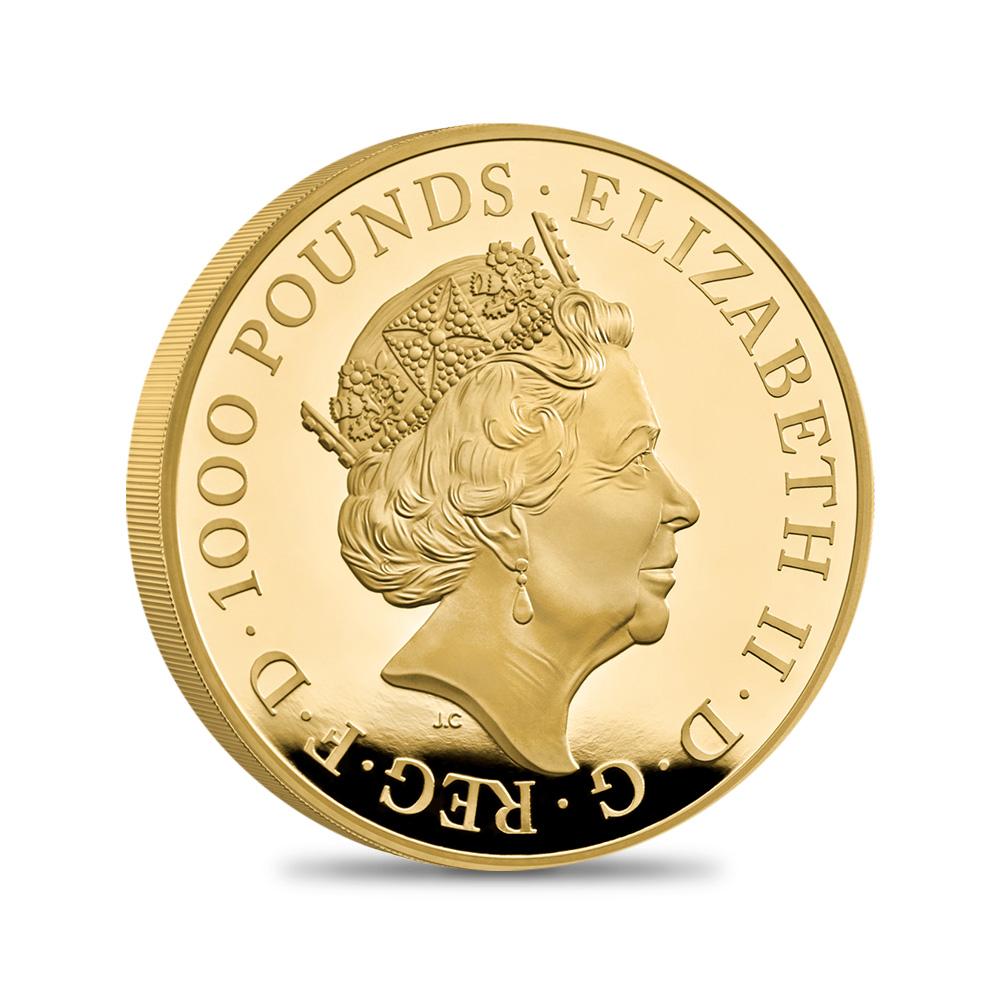 2021 エリザベス2世 クイーンズビースト コンプリーター 英国王室の十大守護獣 1000ポンド1キロプルーフ金貨 未鑑定【ご予約承り品】