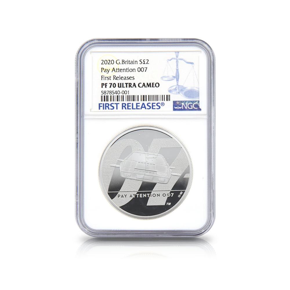 2020 エリザベス2世 007 ジェームズ・ボンド 第2貨 5ポンド2オンス銀貨 ファーストリリース NGC PF70UC