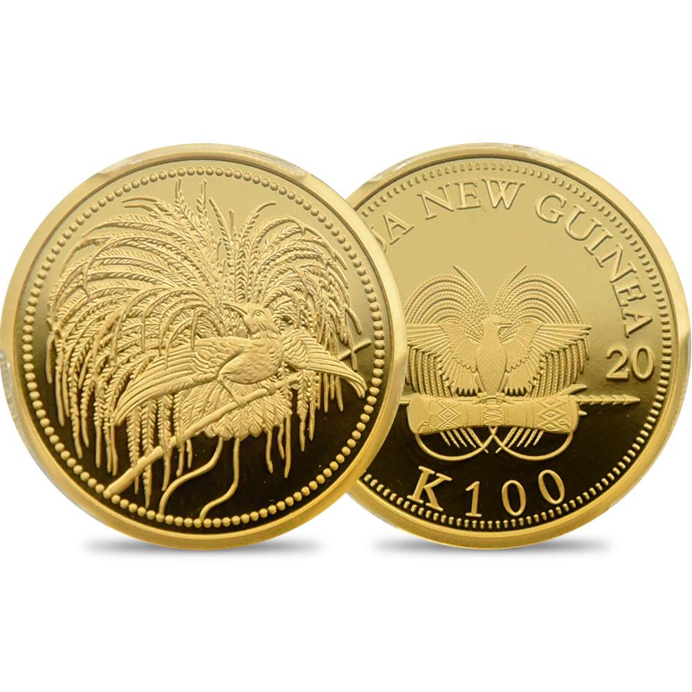 パプアニューギニア 2020 極楽鳥 100キナ 1/4オンス金貨 プルーフ仕上げ PCGS PR70 箱付き
