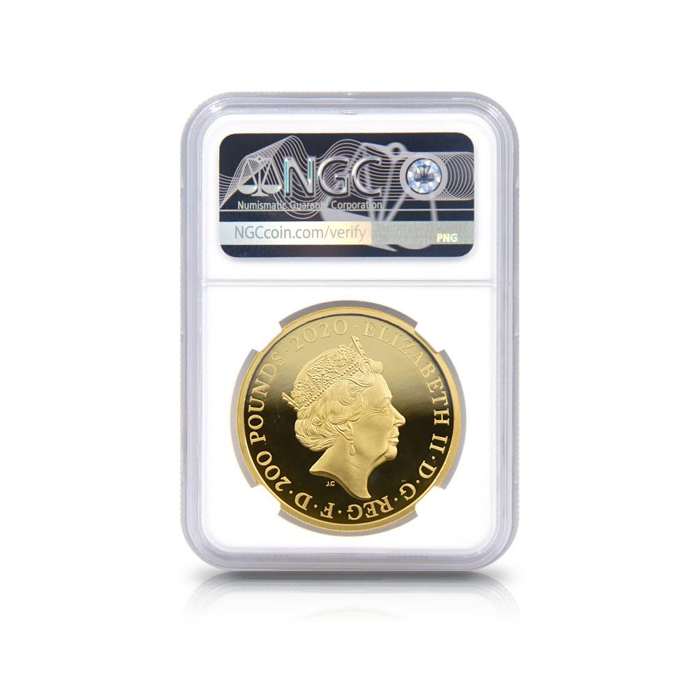 2020 エリザベス2世 007 ジェームズ・ボンド 第2貨 200ポンド2オンス金貨 ファーストリリース NGC PF70UC