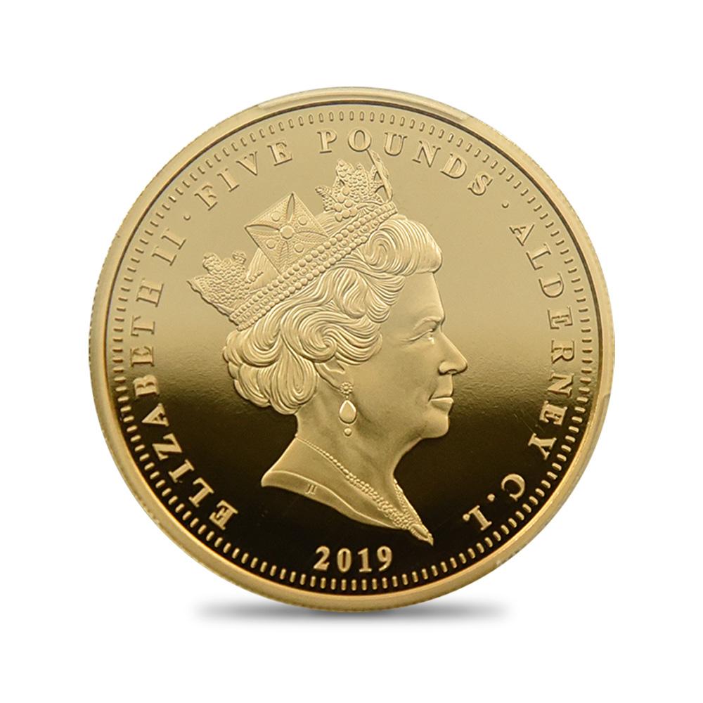 オルダニー島 2019 エリザベス2世 ウナ&ライオン 5ポンド金貨 PCGS PR70DC 箱付き