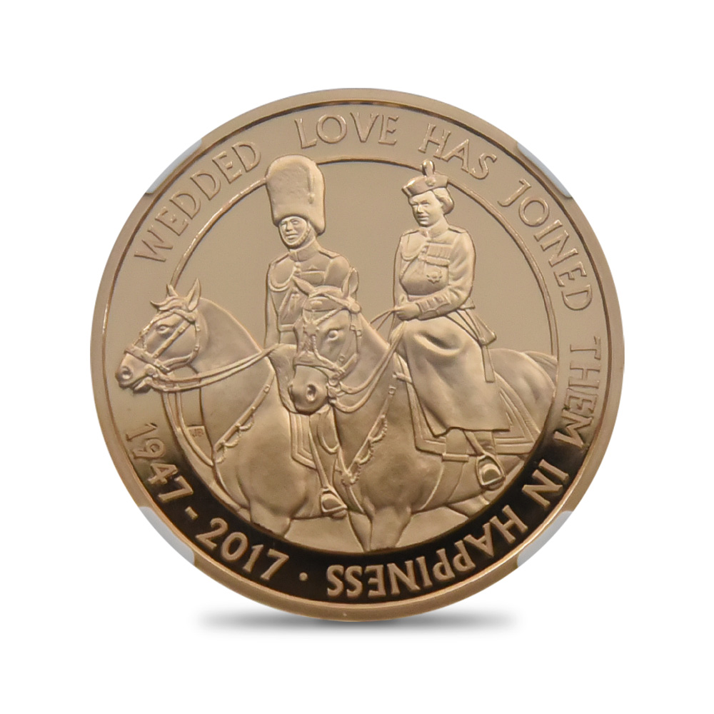 2017 エリザベス2世 フィリップ殿下御成婚70周年記念プラチナウェディング 5ポンド金貨 NGC PF70UC
