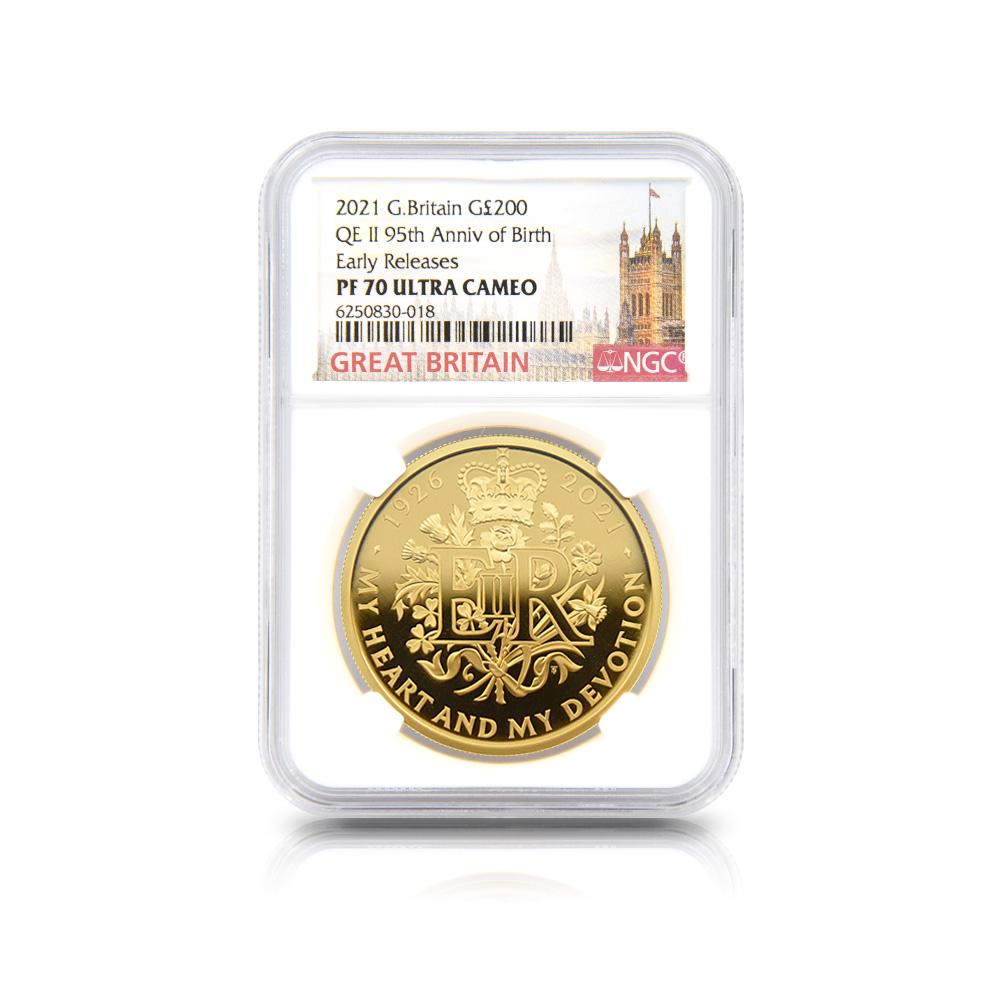 2021 エリザベス2世 女王生誕95周年記念 200ポンド2オンス金貨 アーリーリリース NGC PF70UC 箱付き