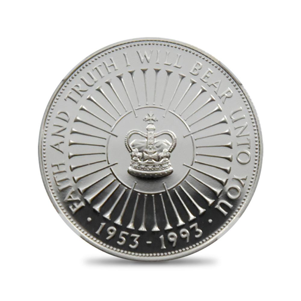 1993  エリザベス2世 戴冠40周年記念 5ポンド銀貨 NGC PF69UC