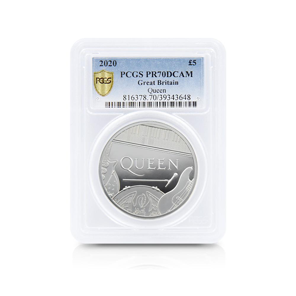 2020 エリザベス2世 ミュージックレジェンド Queen 5ポンド2オンス銀貨 PCGS PR70DC 箱付き