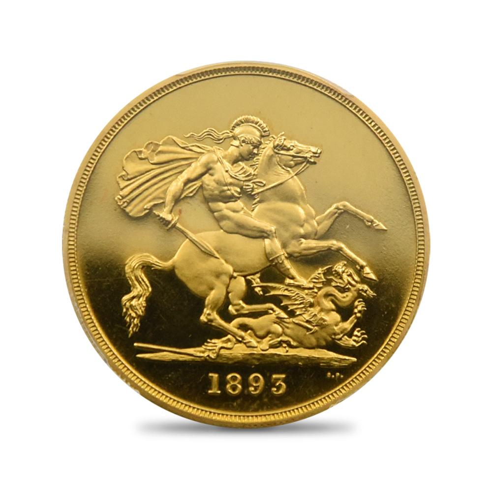1893年 ヴィクトリア・ヴェールドヘッド 5ポンド金貨 PCGS PR64DC