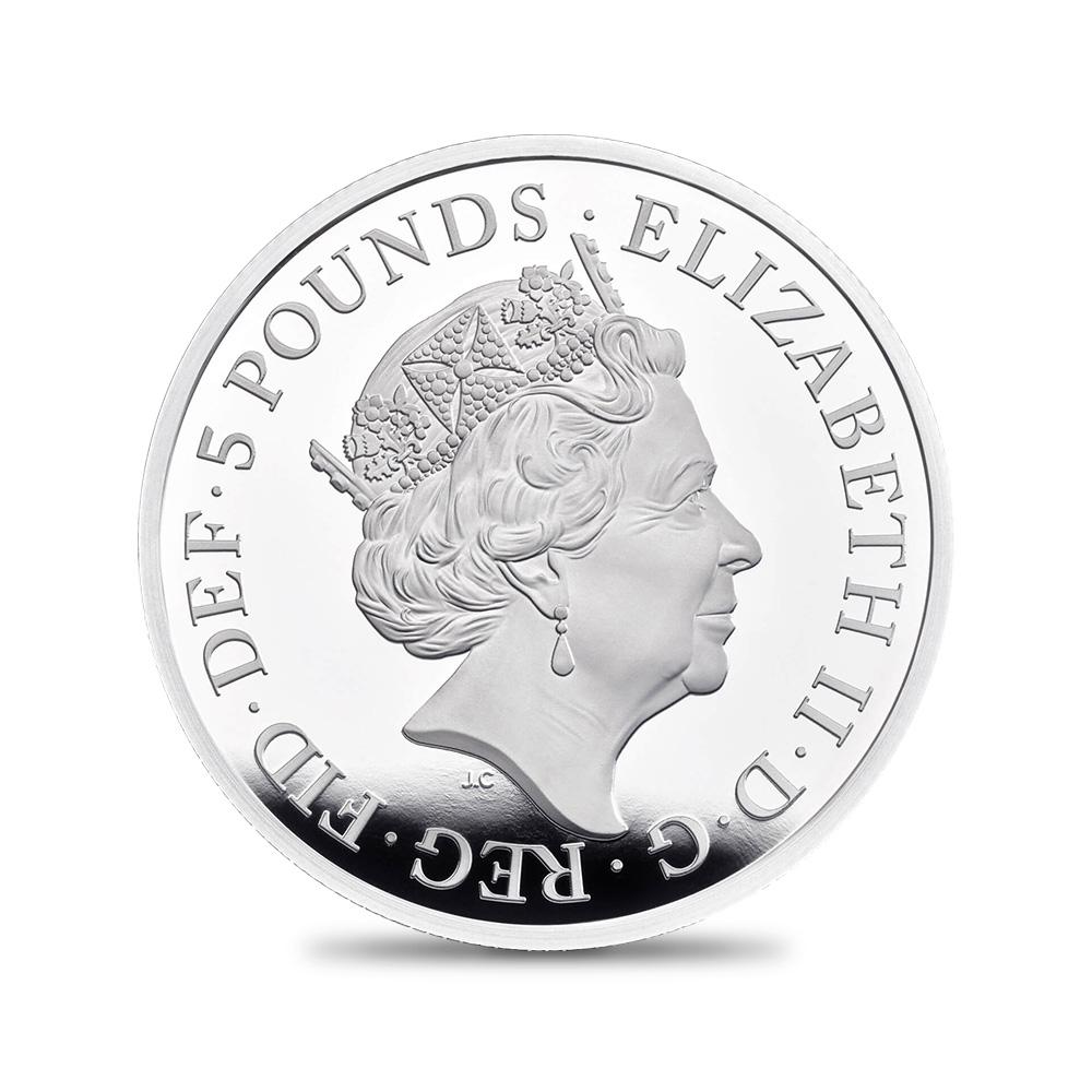 2021 エリザベス2世 クイーンズビースト コンプリーター 英国王室の十大守護獣 5ポンド2オンスプルーフ銀貨 未鑑定【ご予約承り品】