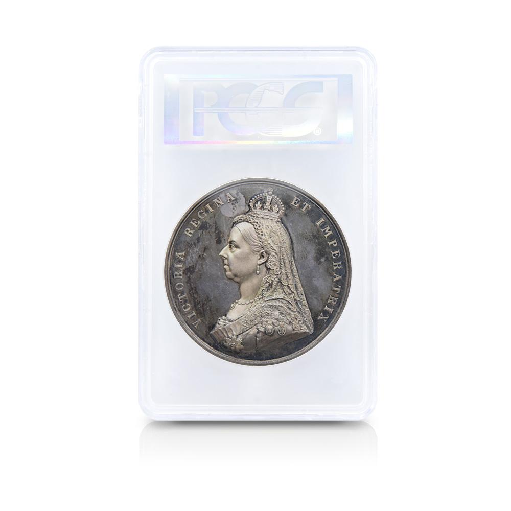1887 ヴィクトリア女王 戴冠50周年記念 ジュビリーヘッド 銀試作メダル PCGS SP63