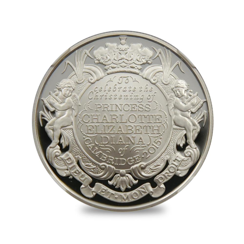 2015年 エリザベス2世 シャーロット王女 洗礼記念 5ポンド銀貨 ONE OF FIRST 500 STRUCK NGC PF70UC