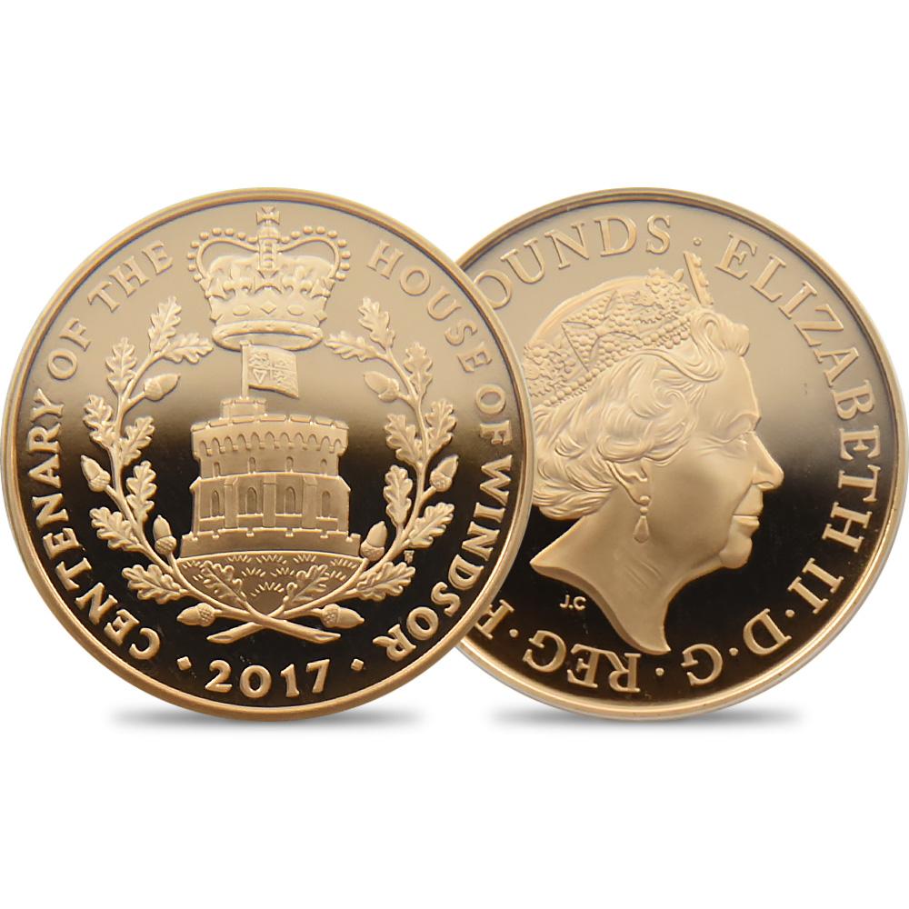2017 エリザベス女王 ウィンザー朝成立100周年記念 5ポンド金貨 PCGS PR70DC 発行数884枚