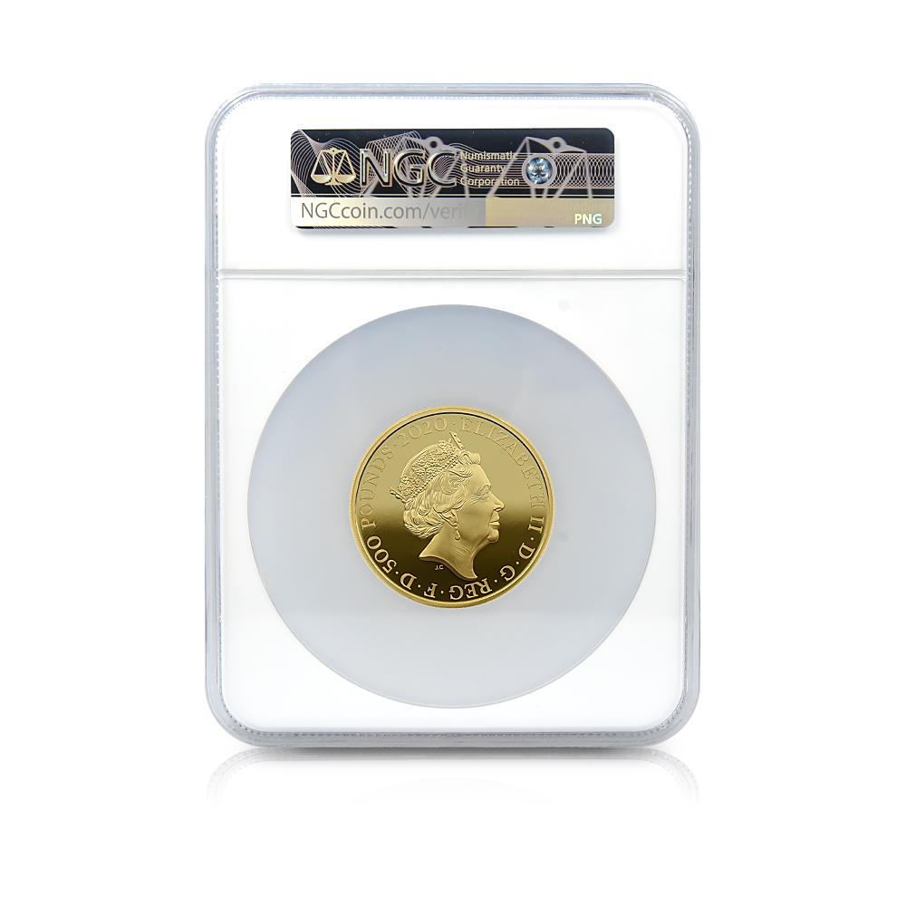 2020 エリザベス2世 ジェームズ・ボンド「007」500ポンド(5オンス)金貨 NGC PF70UC