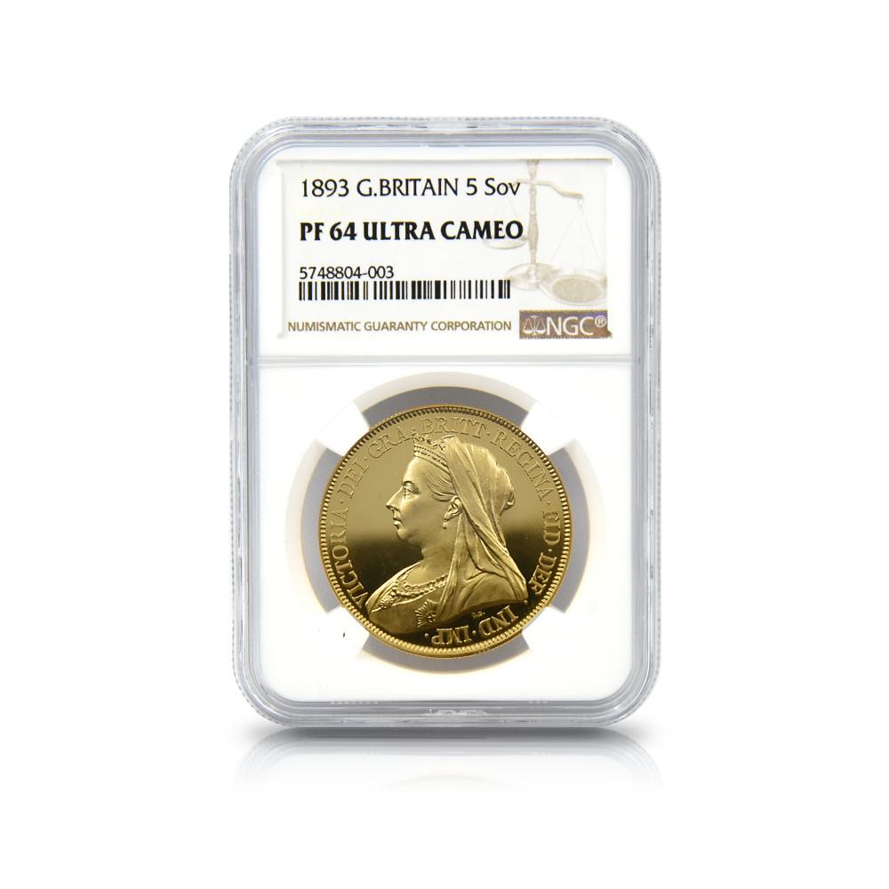 1893 ヴィクトリア女王 ヴェールドヘッド 5ソブリン金貨 NGC PF64UC