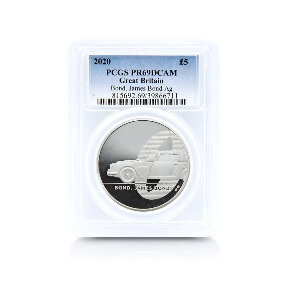 2020 エリザベス2世 007 ジェームズ・ボンド 第1貨 5ポンド2オンス銀貨 PCGS PR69DC 箱付き