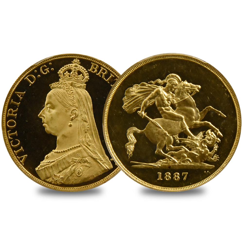 1887年 ヴィクトリア 5ポンド金貨 PCGS PR63DC