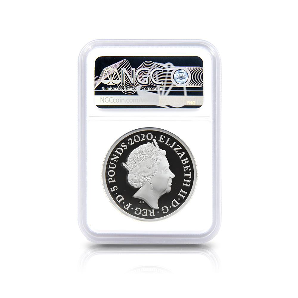 2020 エリザベス2世 スリーグレーセス 5ポンド2オンス銀貨 ロイヤルミント発行 NGC PF70UC 箱付き