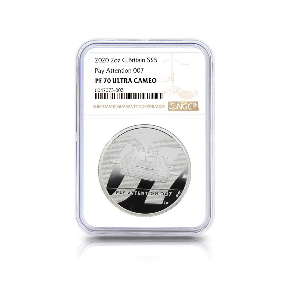 2020 エリザベス2世 007 ジェームズ・ボンド 5ポンド2オンス銀貨 3点セット NGC PF70UC 箱付き