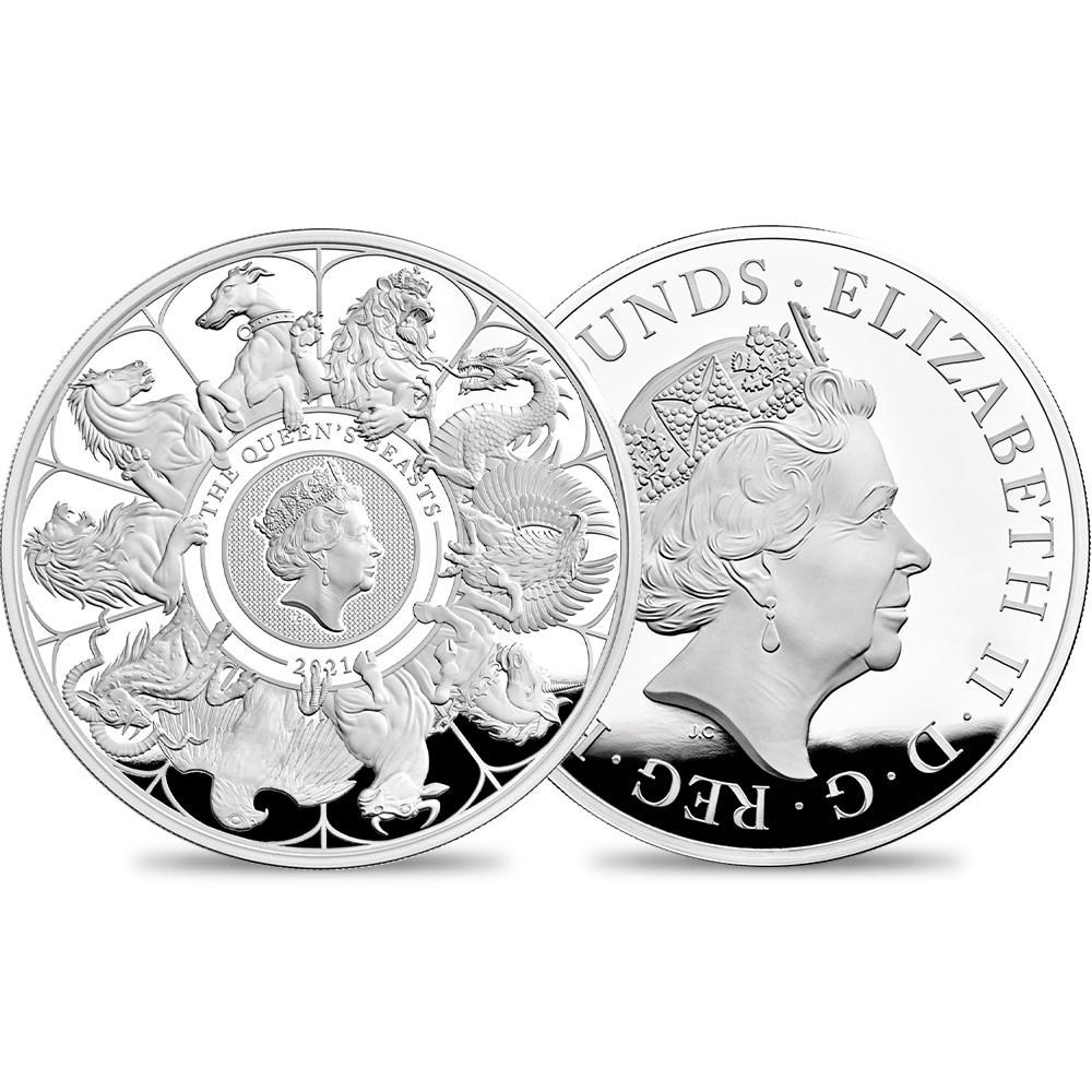 2021 エリザベス2世 クイーンズビースト コンプリーター 英国王室の十大守護獣 500ポンド1キロプルーフ銀貨 未鑑定【ご予約承り品】