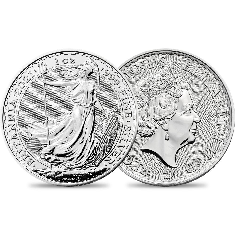 2021 エリザベス2世 ブリタニア 2ポンド1オンス(31.1g)地金型銀貨 【ご予約承り品】