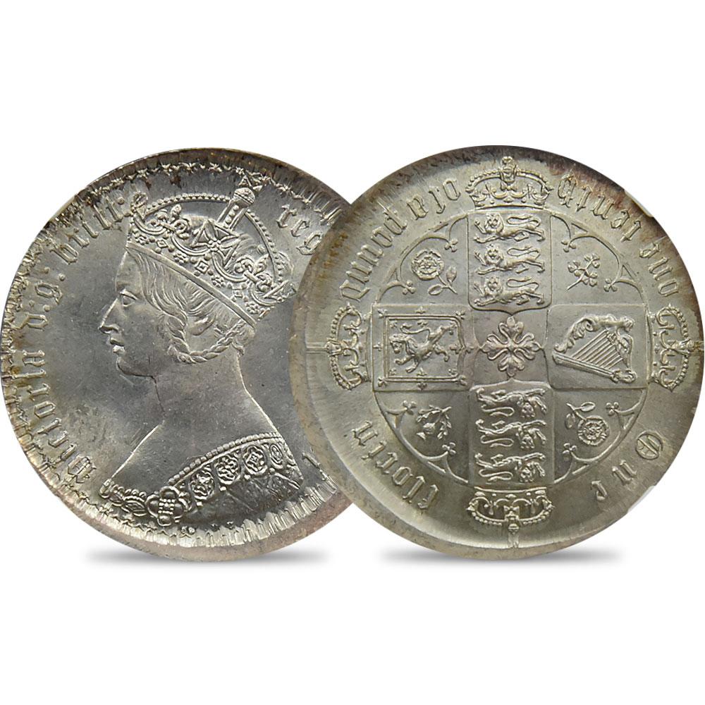 1872 ヴィクトリア女王 2シリング銀貨 NGC MINT ERROR MS63