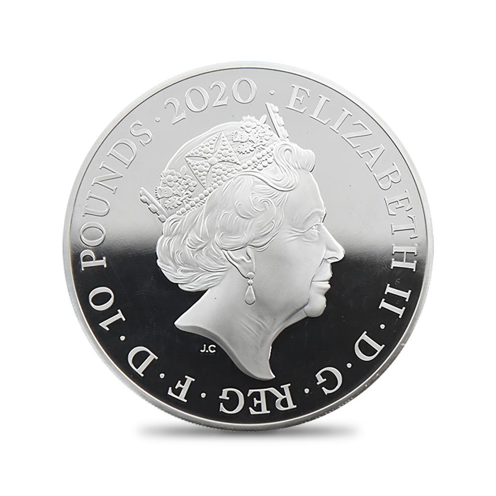 2020 エリザベス2世 007 ジェームズ・ボンド 10ポンド5オンス銀貨 ファースト250ストラック NGC PF70UC (タワーブリッジ) 箱付き