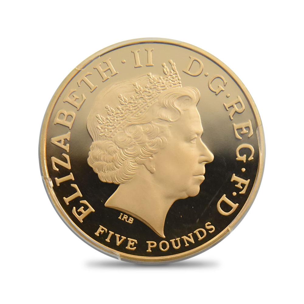 2008 エリザベス女王 エリザベス1世即位450年記念 5ポンド金貨 PCGS PR70DC 1,500枚発行