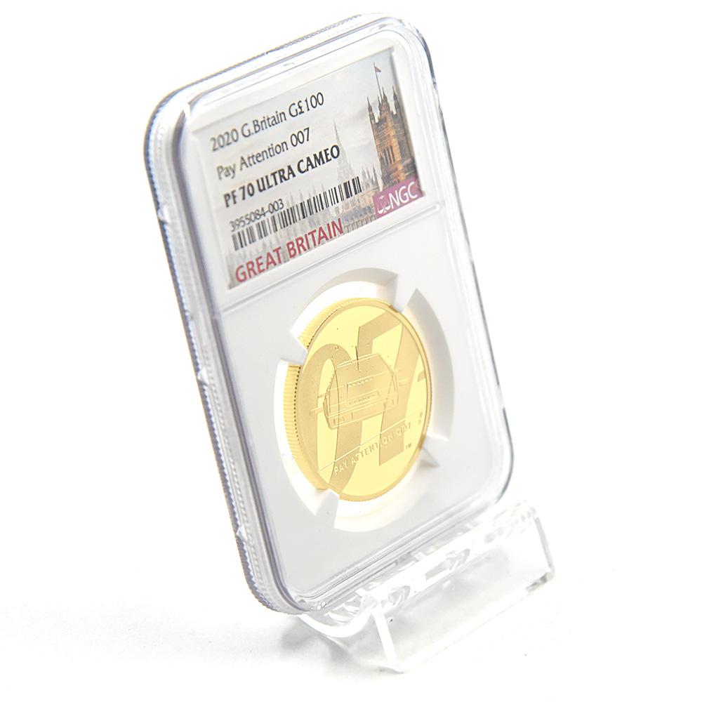 2020 エリザベス2世 007 ジェームズ・ボンド 第2貨 100ポンド1オンス金貨 NGC PF70UC 箱付き