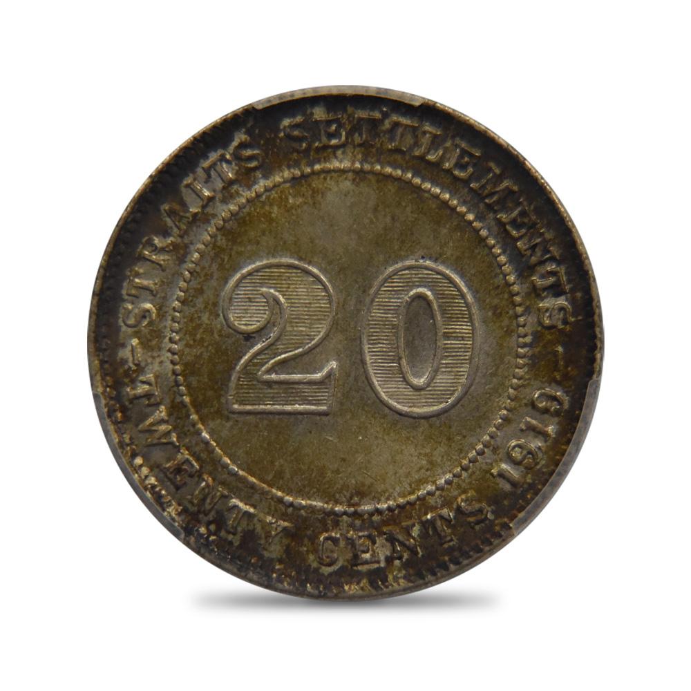 海峡植民地 1919B ジョージ5世 20セント銀貨 PCGS MS63