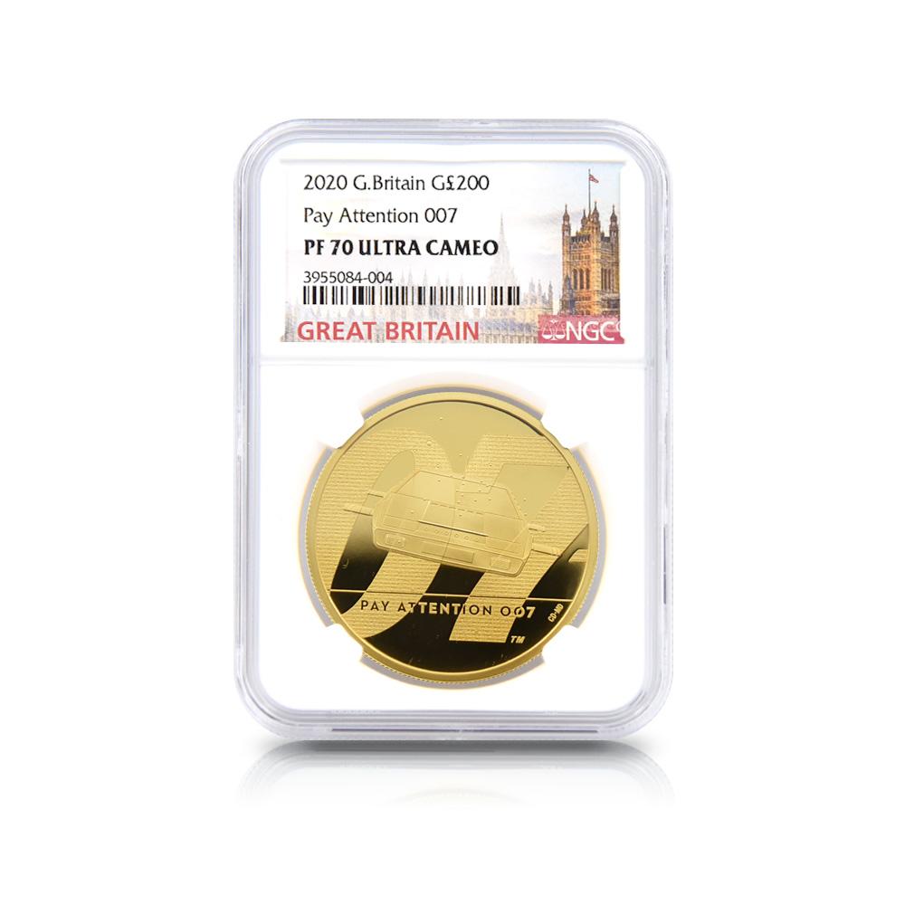2020 エリザベス2世 007 ジェームズ・ボンド 第2貨 200ポンド2オンス金貨 NGC PF70UC 箱付き