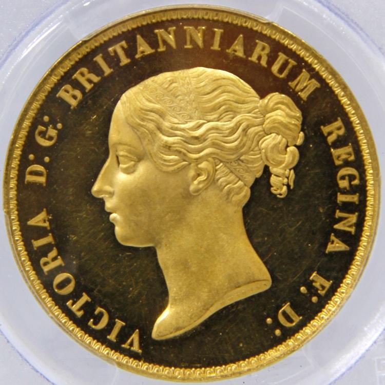 1839 ヴィクトリア女王 5ポンド金貨 ウナ&ライオン PCGS PR62DC WR-278(R4)