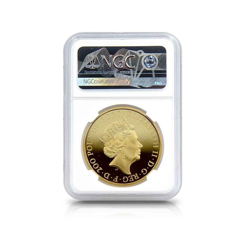 2020 エリザベス2世 007 ジェームズ・ボンド 第2貨 200ポンド2オンス金貨 ファーストリリース NGC PF69UC