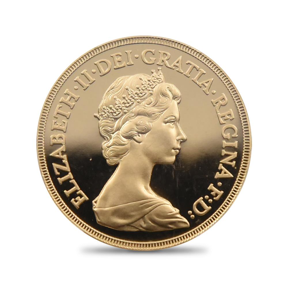 1980 エリザベス2世 ヤングエリザベス 聖ジョージ竜退治 5ポンド金貨 PCGS PR69DC