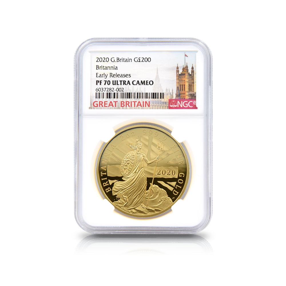 2020 エリザベス2世 ブリタニア 200ポンド2オンス金貨 アーリーリリース NGC PF70UC 箱付き