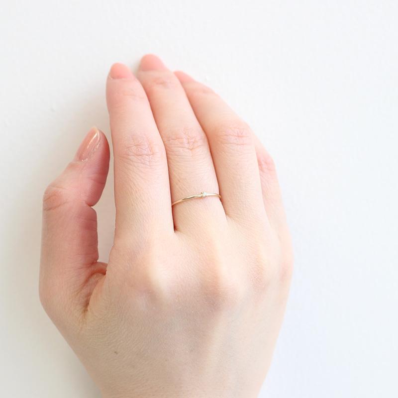 【8月 誕生石】K10YG 1粒ペリドット誕生石リング / 誕生石ピンキーリング 1〜18号【オーダーメイド商品】
