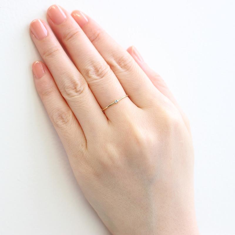 【3月 誕生石】K10YG 1粒アクアマリン誕生石リング / 誕生石ピンキーリング 1〜18号【オーダーメイド商品】