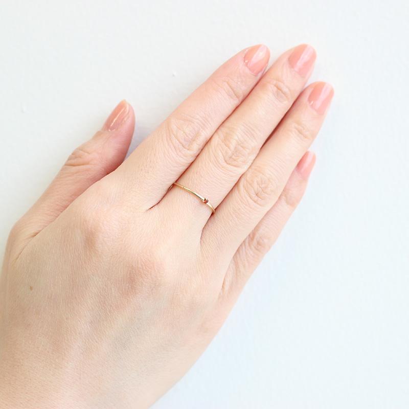 【1月 誕生石】K10YG 1粒ガーネット誕生石リング / 誕生石ピンキーリング 1〜13号【オーダーメイド商品】