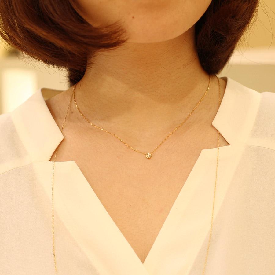 K18YG 1粒ダイヤ ネックレス (LL) ネックレス
