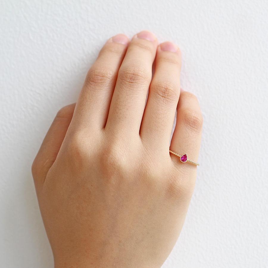 【7月 誕生石】K10YG 1粒ルビー エンフィス誕生石リング / 誕生石ピンキーリング 1〜13号【オーダーメイド商品】