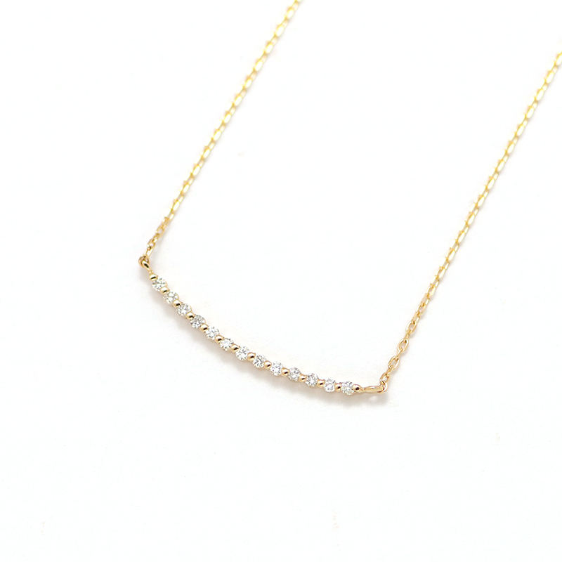 K18YG ダイヤバーネックレス