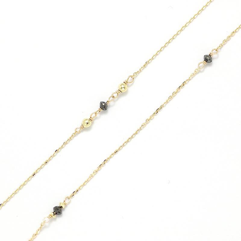 K10YG ブラックダイヤロングネックレス
