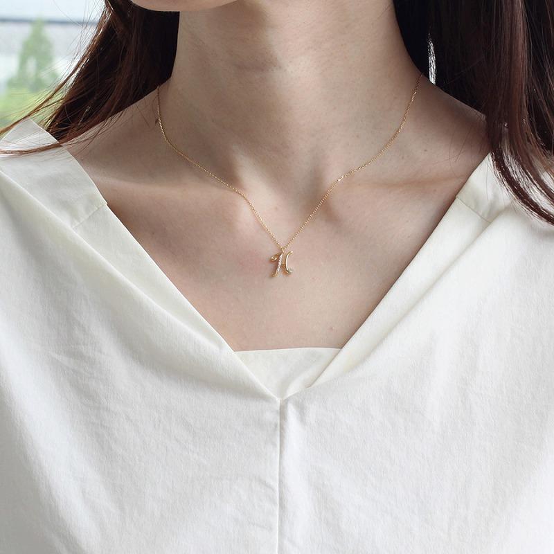K18YG イニシャル ダイヤ ネックレス H