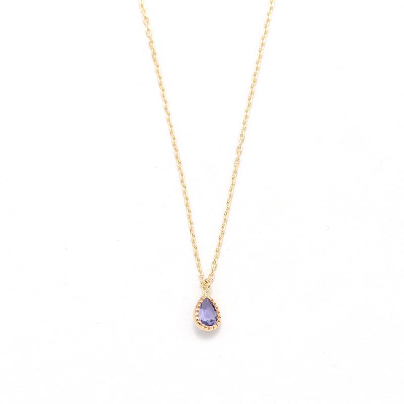 【12月 誕生石】K10YG 1粒タンザナイト エンフィス誕生石ネックレス