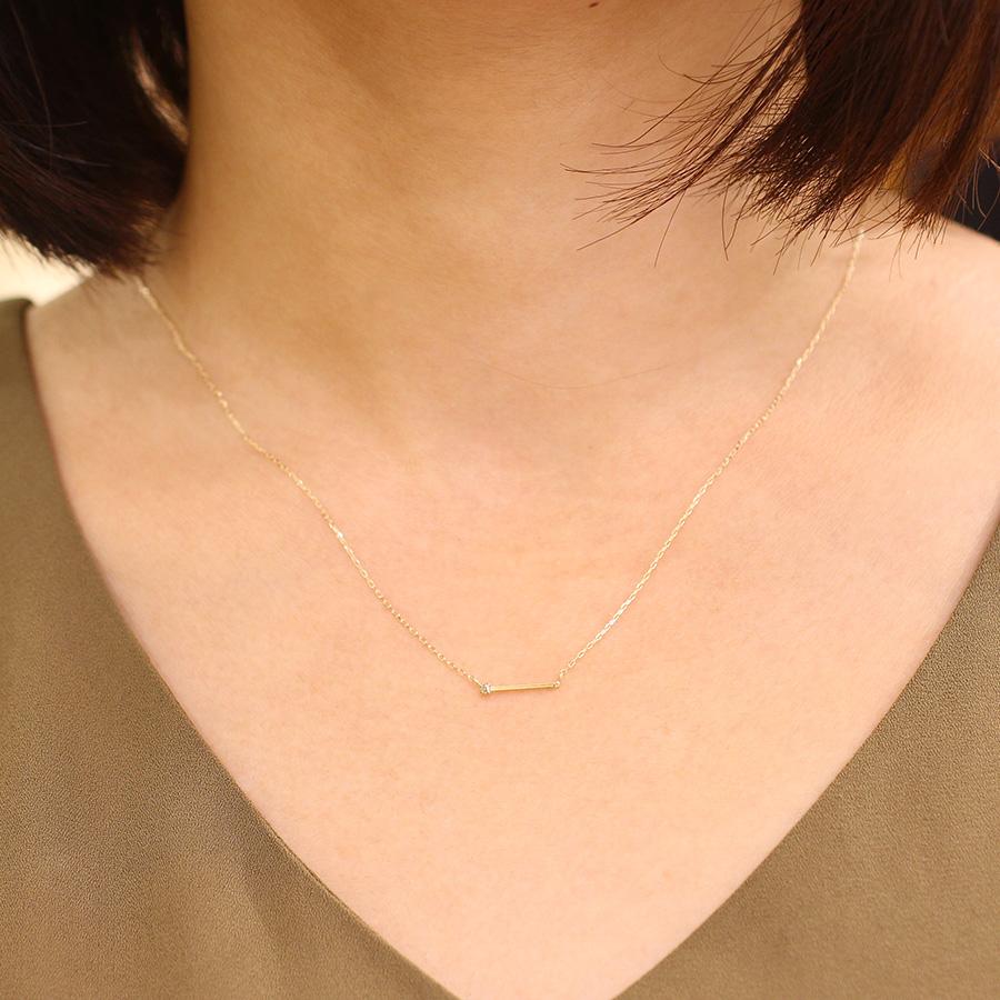 K10YG 1粒ダイヤバーネックレス