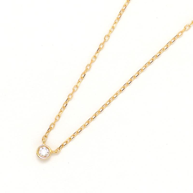 K18YG 1粒ダイヤ ネックレス (M)