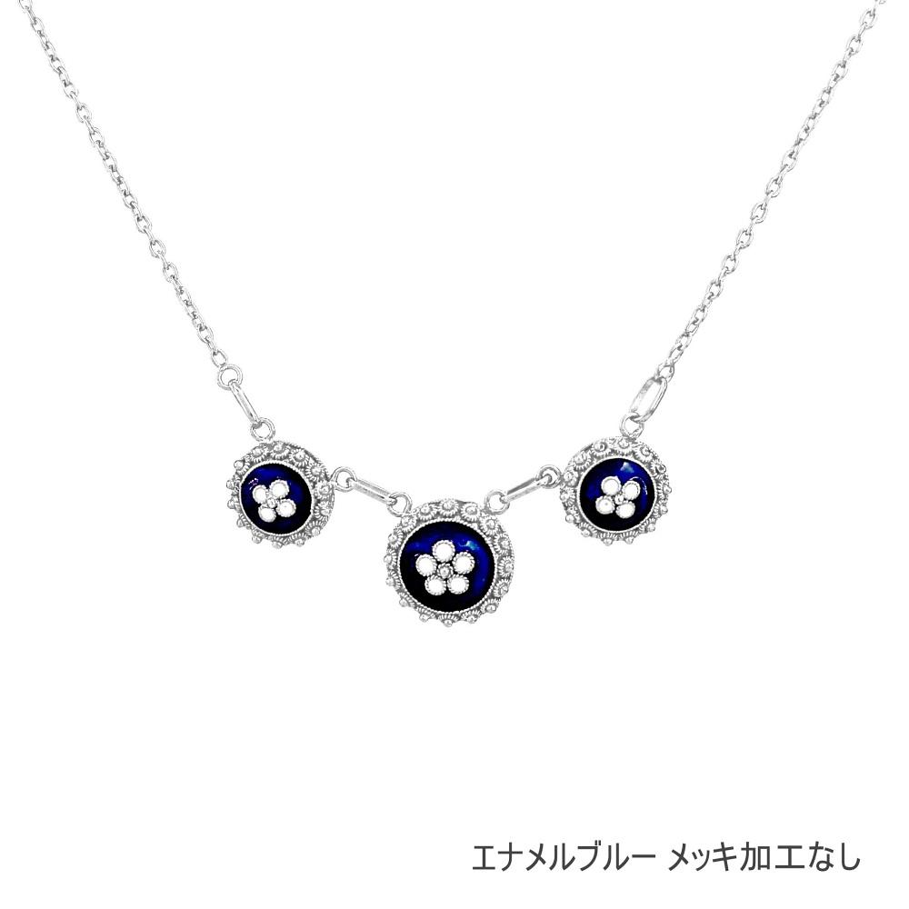 NANA エナメル3 ネックレス/シルバー/金線細工