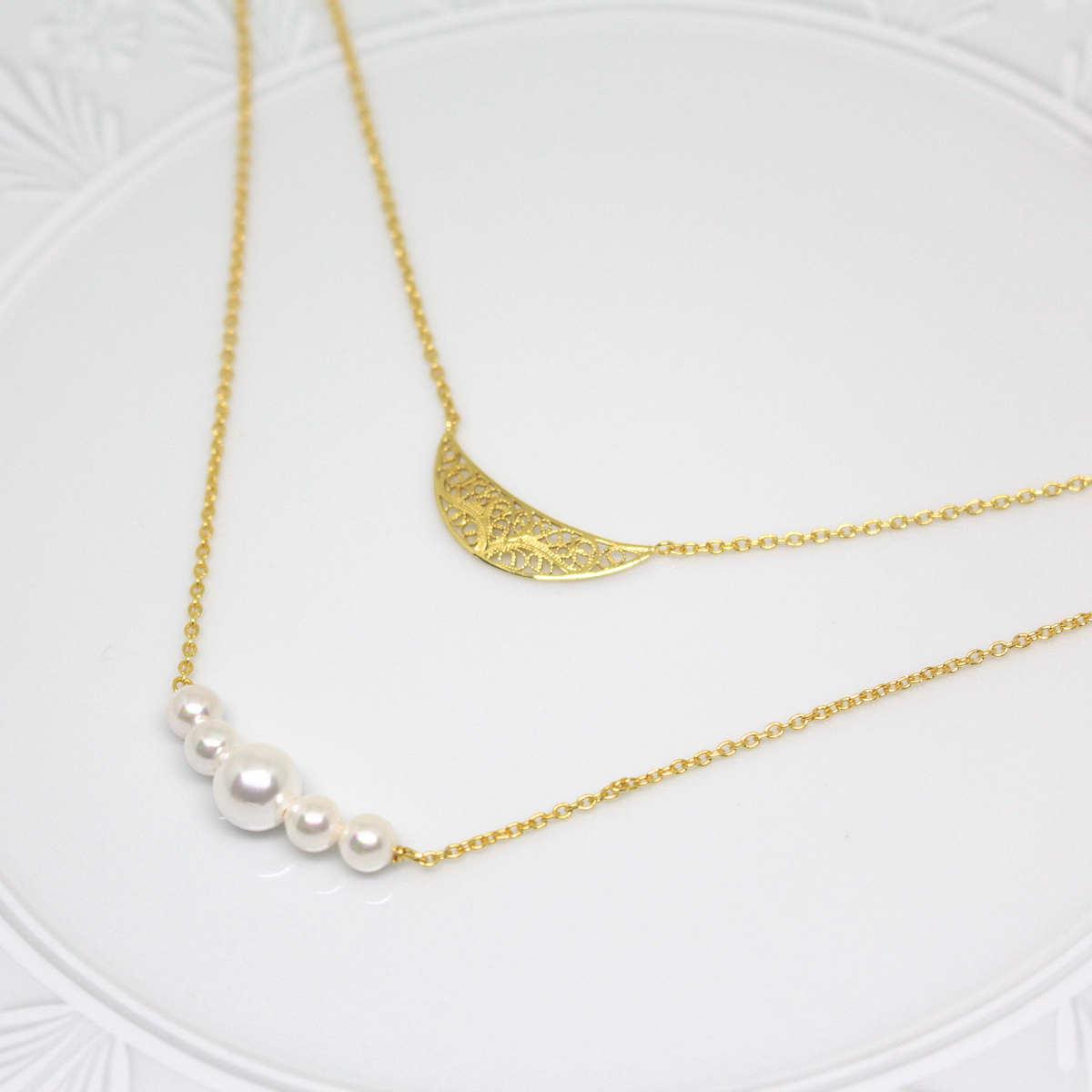 SOPHIA ムーン 2連ネックレス ゴールド/銀線細工・金線細工