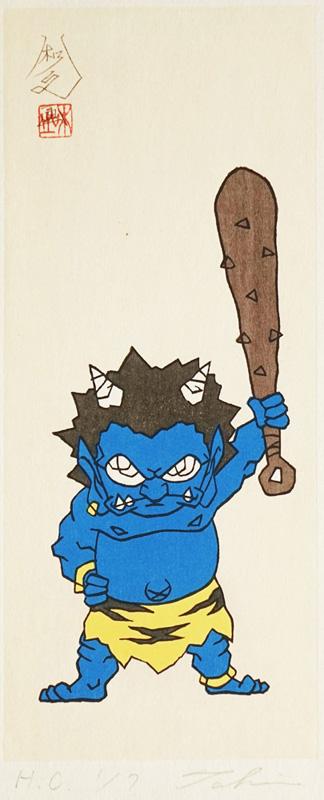 瀧下和之「桃太郎図 鬼に金棒。(青)」完売