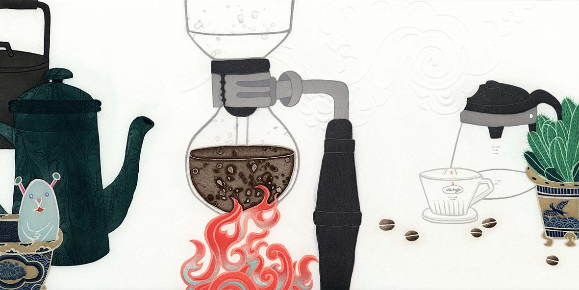 ミヤケマイ銅版画 「喫茶去」(木製額装)