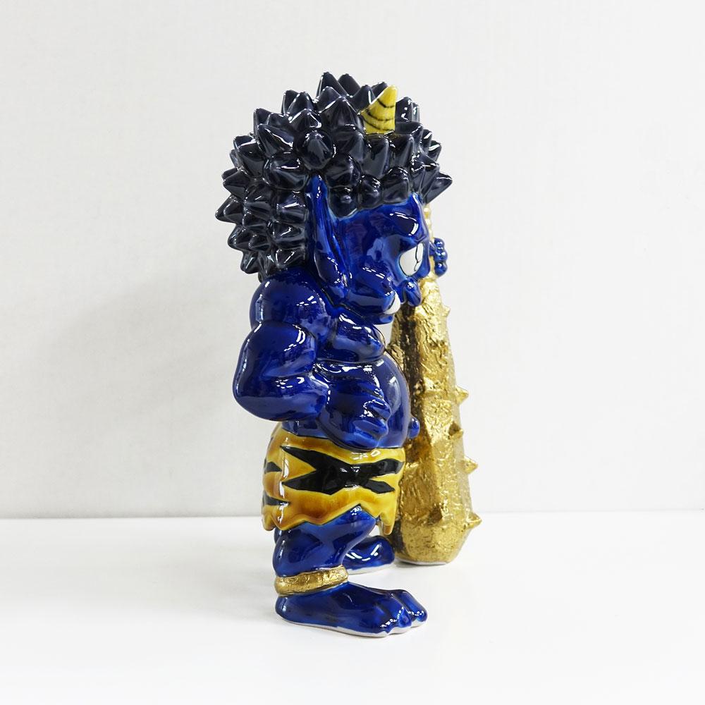 瀧下和之×北村和義 コラボレーション企画第二弾 <br>九谷焼フィギュア「色絵金彩 鬼に金棒。」青鬼
